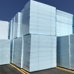 Stacks of extruded polystyrene panels for reuse
