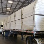 Truckload of recycled expanded polystyrene insulation boards