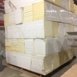 Pallet of expanded polystyrene insulation boards